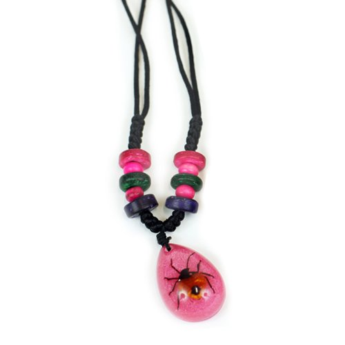 Shield Bug Necklace, Pink