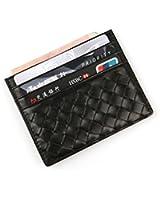 MEKU Women's Leather Card Case Wallet Weaved Credit Card Holder Slim Business Card Case Front Pocket