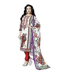 Admyrin Women White Cotton Dress Material