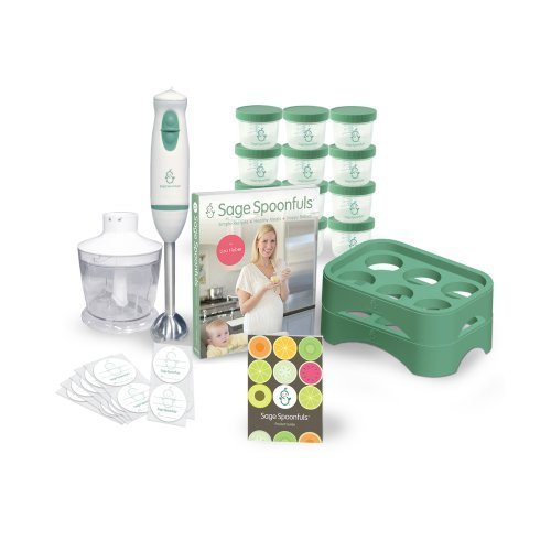 """Baby Food Maker - Sage Spoonfuls Award-Winning All Natural Baby Food System - """"Let's Get Started"""" Package with Immersion Blender and Food Processor, Storage Jars, Trays, and Recipe Book by Sage Bears, LLC"""