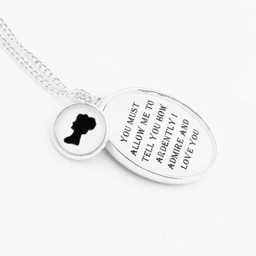 Elizabeth Bennet Pride And Prejudice Necklace, Silver Pendant Literature Quote Black And White Mr. Darcy Silhouette Jane Austen Romantic