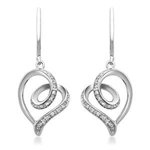 Sterling Silver Diamond Tendrils Heart Earrings (1/20 cttw, I-J Color, I3 Clarity)