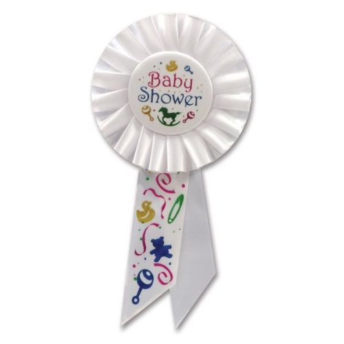 Beistle RS197 Baby Shower Rosette, 31/4 by 61/2-Inch