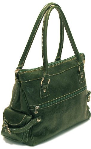 Floto Luggage Zip Pocket Monticello Handbag, Green, Small