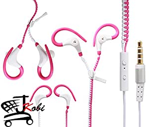 Dual Color Trendy Zipper Sports In-Ear Headset Earphones With Mic Compatible For Lenovo Z2 Plus -White With Pink