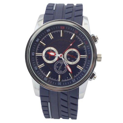 Hacbiwa Sports Women Men 3-Eye Navy Blue Quartz Silicon Wrist Watches
