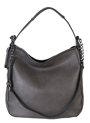 Diophy PU Leather Large Hobo Tote Women's Purse Handbag Accented Chain ZD-2500 Grey