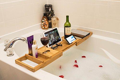"""ADORN Bamboo Bathtub Caddy Bath Tub Tray (Expands up to 43"""")"""