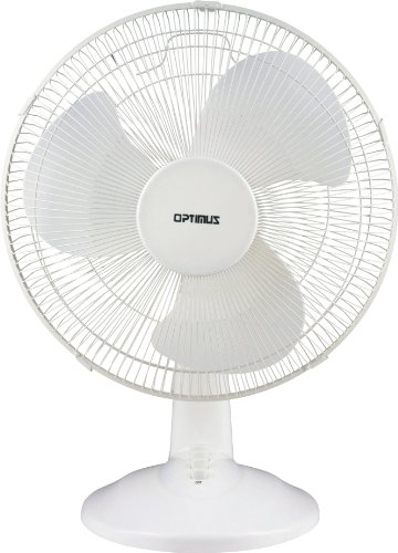 Optimus F-1630 16-Inch Oscillating 3-Speed Table Fan, White
