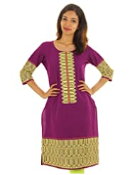 Purple ESTYLe Cotton Kurta With Neon Prints