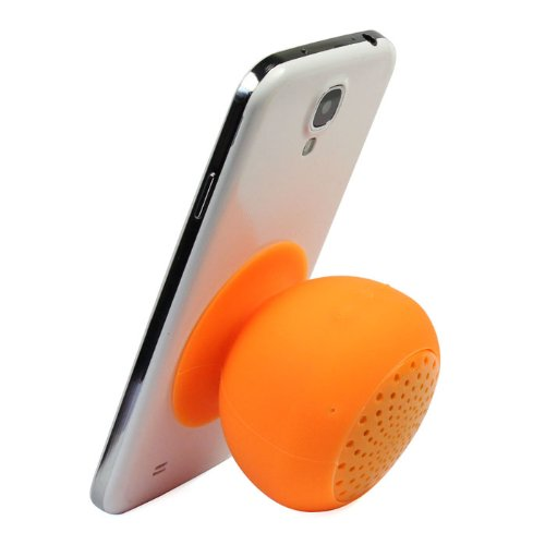 Top Seller Mini Wireless Mushroom Design Bluetooth Speaker Hands Free Silicone Suction Waterproof Speakers (Orange)