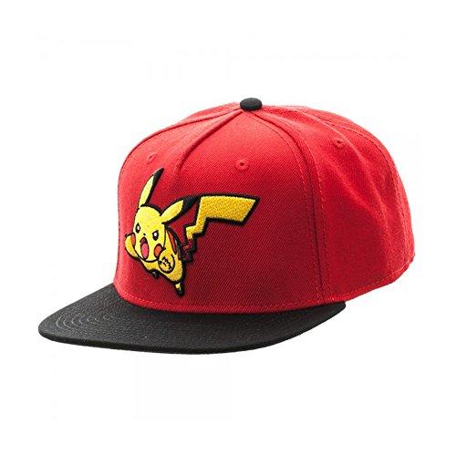 Pokemon-Embroidered-Pikachu-Color-Block-Snapback-Gorra-De-Bisbol