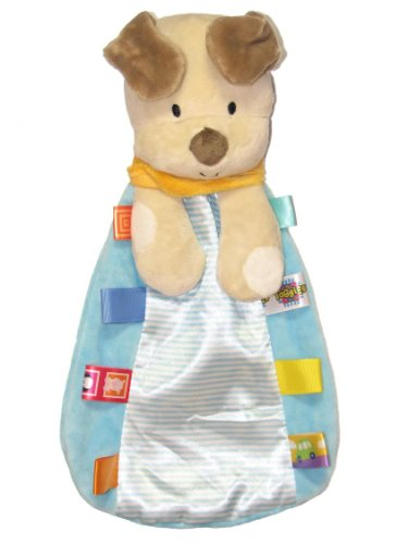 Taggies Dog Plush Security Blanket with Rattle Dog Head and Satin Backside by Taggies - Blue - Not Applicable - 1