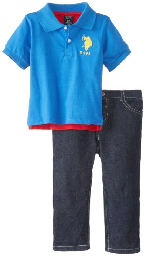 U.S. Polo Assn. Baby-Boys Infant Color Blocked Polo And Denim Jean Set, Strong Blue, 12 Months front-405461
