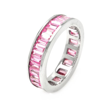 Dazzling Pink Baguette Cubic Zirconias Eternity Band, Made with Solid Sterling Silver, Includes Gift Box and Pouch. (8)