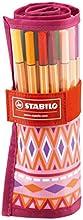 Comprar STABILO point 88 - Rotulador punta fina - Estuche premium de tela Rollerset edición limitada Festival Spirit color rosa, con 25 colores