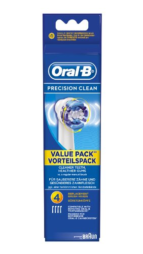 Braun Oral-B EB20-4 Precision Clean Replacement Rechargeable Toothbrush Heads 4-Pack (Packaging May Vary)