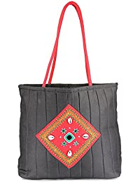 Womens Cottage Black Cotton Kawadi Patch Work Bag