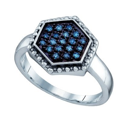 Sterling silver 0.18 Carat (ctw) Diamond Cluster Ladies Blue Diamond Ring