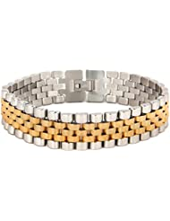 The Jewelbox 316L Surgical Stainless Steel 22K Gold Rhodium Mens Bracelet