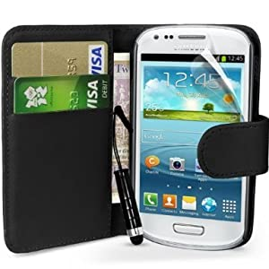 Samsung Galaxy S3 Mini i8190 Black Book Side Wallet Folio High Quality Pu Leather Flip Case Cover Plus Mini Stylus Pen, Screen Protector & Screen Polishing Cloth