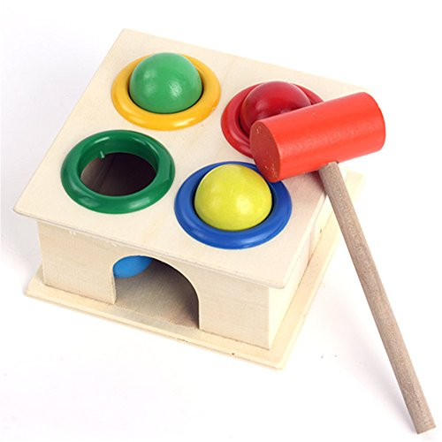 Baby's Early Learning Hammering Cute Wooden Ball+Hammer Box Educational Toys