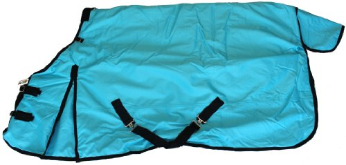 "1200D Heavy Weight Waterproof Horse Turnout Blanket Turquoise Blue, 80"" front-621545"