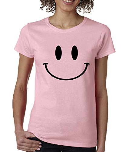 Womens Big Smiley Face T-Shirt X-Large Light Pink
