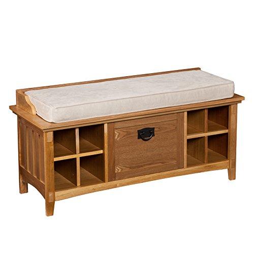 Southern Enterprises Alden Storage Bench Natural Oak Furniture Benches Entryway Benches