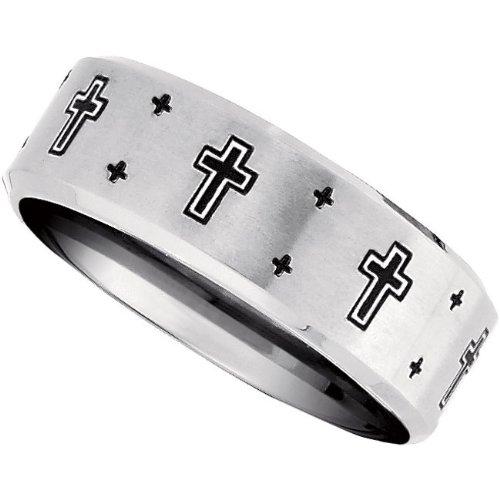 Titanium, Black Laser Engraved Cross Wedding Band (sz 13.5)
