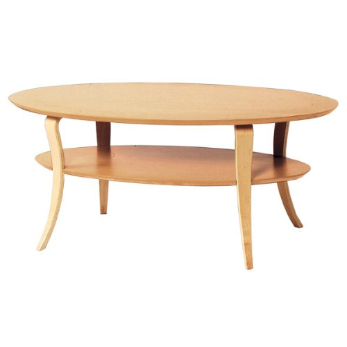 UV塗装 丸テーブル 棚付き ローテーブル デスク 机 幅100cm 高さ42cm ナチュラル