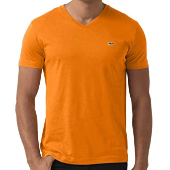 Lacoste Men's Iconic V-Neck Pima Cotton Jersey T-shirt Tangerine Orange-Small