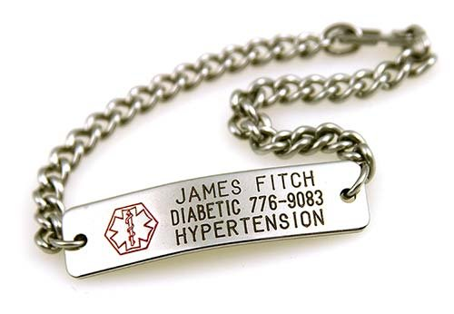 Medic ID Bracelet - Custom Engraved - Hypo-allergenic Stainless Steel - Choice of engraving and chain length