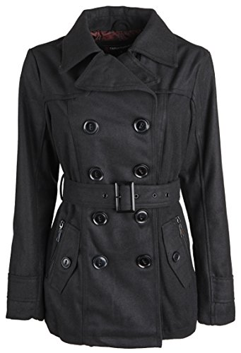 Urban Republic Junior Womens Wool Look Classic Winter Peacoat Jacket with Belt - Black (Small)