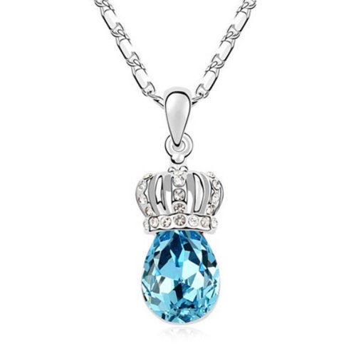 Mqueen Aquamarine Queen Crown Drop Pendant Necklace