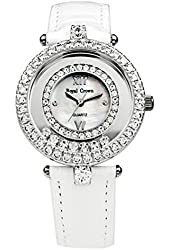 Royal Crown Women's Jewelry Watches Genuine Leather Strap Quartz Mother of Pearl Dial Langii-3628l-wh