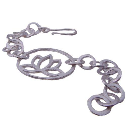 Sterling Silver Matte Lotus Link Bracelet