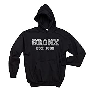 Women's Hooded Sweatshirt - Popular Neighborhoods in The Bronx New York - Word Art - Black - X-Large