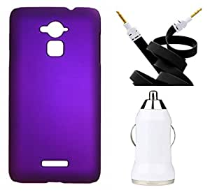 XUWAP Hard Case Cover With Aux Cable & Car Charger For Coolpad Note3 - Purple