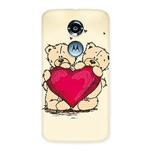 Impressive Cute Heart Twin Teddy Back Case Cover for Moto X 2nd Gen