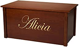 Wood Toy Box, Large Cherry Toy Chest, Personalized Edwardian Font, Custom Options