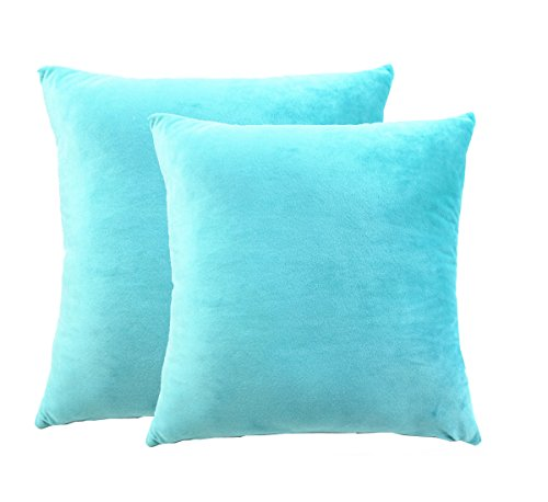 "JWstyle1000 Set of Two 18"" X 18"" Square Cotton Super Soft Short Plush Throw Pillow Cover Turquoise"