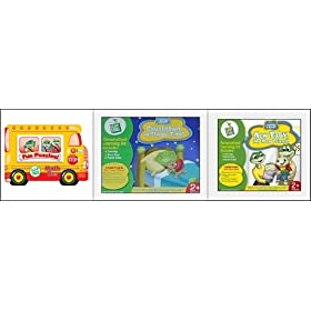 LeapFrog Learning Games and Puzzle Collection: Math Whiz Learning Bus (Tray Puzzle), 2 Interactive LeapFrog Game Cartridge/Book: Countdown to Sleepy Time! and New Baby My New Friend!