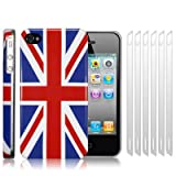 IPHONE 4 / IPHONE 4G UNION JACK GLOSSY BACK COVER CASE / SKIN / SHELL WITH 6-IN-1 SCREEN PROTECTOR PACK PART OF THE QUBITS ACCESSORIES RANGEby Qubits