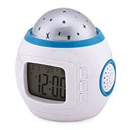 Swonda Color Change Starry Night Projection Music Digital Alarm Clock With Backlight Led Nigh Light Calendar Thermometer