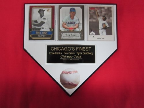 Chicago Cubs Banks Santo Sandberg 3 Card Collector HOME PLATE Plaque EXCLUSIVE DESIGN to AMAZON! at Amazon.com