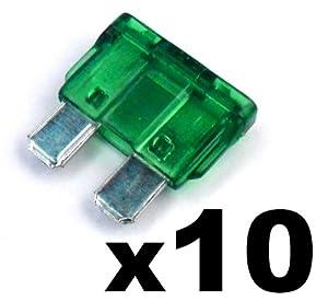 10x Fusibles Standard Enfichables Auto / Voiture / Caravane / Bateau - KFZ - Vert Verte 30 A AMP - Pour 12V / 24V - LIVRAISON GRATUITE!