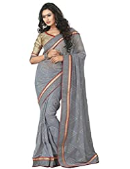 AG Lifestyle Women's Chiffon Saree(DVY4016, Grey)