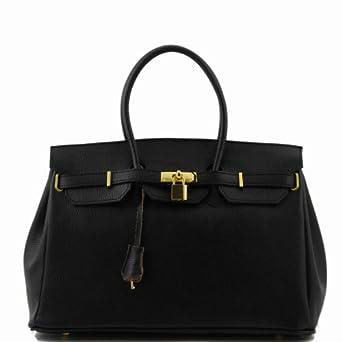 Bag - Handtasche aus Leder mit goldfarbenen Beschäge von Tuscany Leather