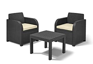 Keter 2-Seater Atlanta Balcony Bistro Set with Cushions - Cream